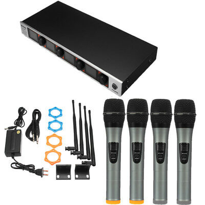 AU 4 Channel 4 Cordless Handheld Mic UHF Wireless LCD Display Microphone System