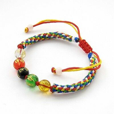 Hand Knit Acrylic Buddha Word Beads Multi-Color Cord Bracelet