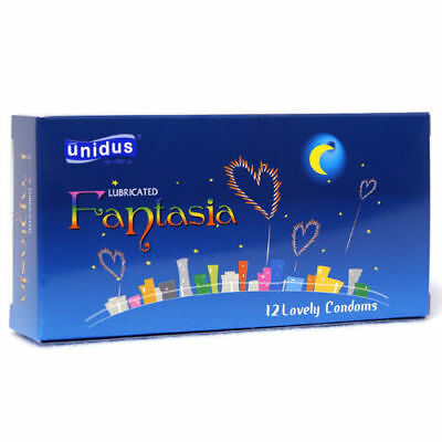 100Pcs UNIDUS Couple Fantasia Odorless Lubricated Natural Latex Condom Pack v_e