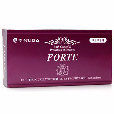 100Pcs UNIDUS Forte Strawberry Lubricated Natural Latex Dotted Condom Pack v_e