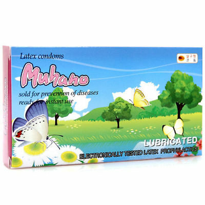 100Pcs UNIDUS Muhano Apricot Flavored Lubricated Natural Latex Condom Pack v_e