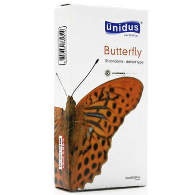 100Pcs UNIDUS Sensation Butterfly Dotted Strawberry Natural Latex Condom v_e