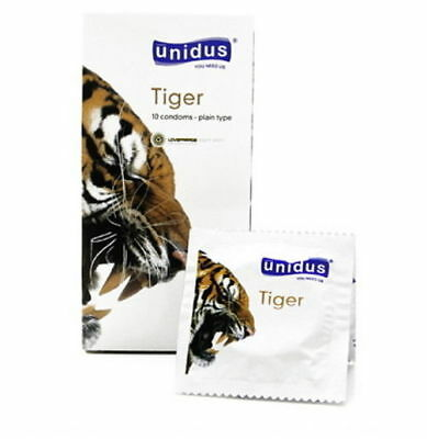 100Pcs UNIDUS Tiger Innocence Plain Type Odorless Natural Latex Condom Pack v_e