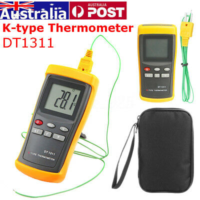 AU Digital K-Type Thermometer w/ High Temperature Thermocouple DT1311 & Bag DC6V