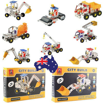 Metal DIY Kid Toy Assembly Model Kit Building Blocks Construction Vehicle AU