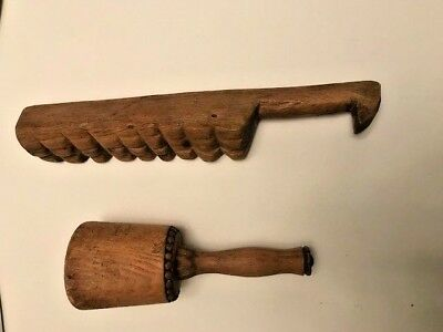 Two Antique primitive kitchen mashers pounders early American