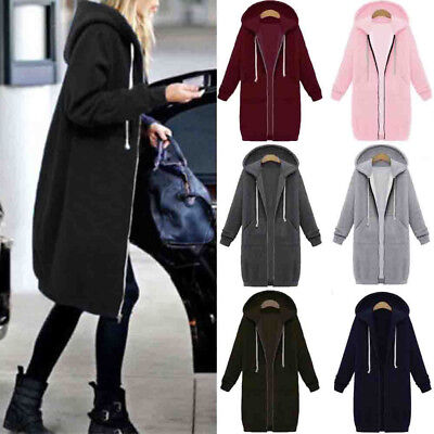 Women Warm Zipper Hoodie Sweater Hooded Long Jacket Sweatshirt Coat Plus Size US