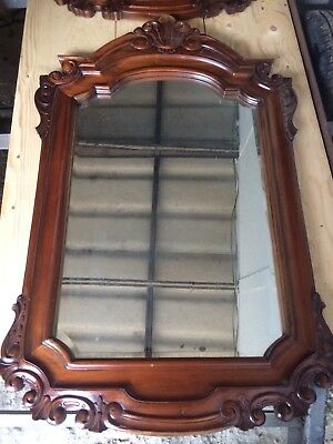 "Antique Georgian Style Mahogany Framed Large Wall Mirror 47.25"" Bevelled Glass"