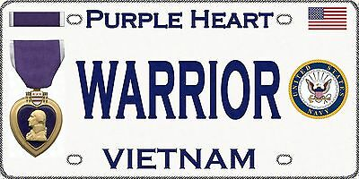 Navy - Vietnam - Purple Heart - Magnetic Car Sign - 6in X 3in