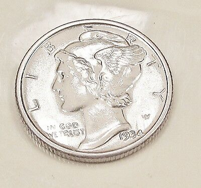 1934  Mercury   Dime   Choice   BU   Lustrous    Beauty    #102  4