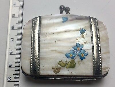 1940's / 1950's Mother of Pearl Miniature Purse with Floral Decorations