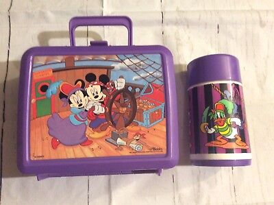 Vintage Aladdin Purple Pirate Mickey And Friends Plastic Lunchbox And Thermos