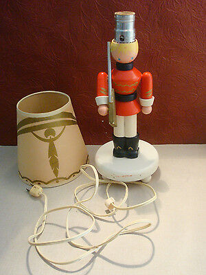 Vintage IRMI Nursery Plastics Wooden Toy Soldier Lamp Baby Boys Room with Shade