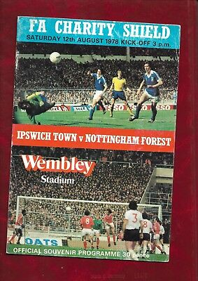 1978 Charity Shield programme Ipswich Town v Nottingham Forest