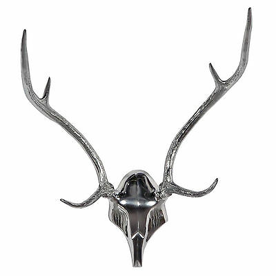 Extra Large Aluminium Metal Chrome STAG DEER Antlers Ornament Wall Decoration