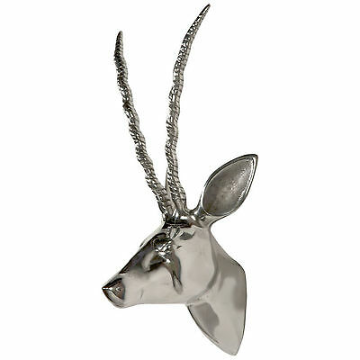 Stunning Stag Deer Head Antlers Silver Chrome Effect Wall Mounting Ornament