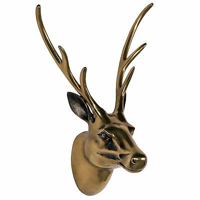 Antiqued Brass Bronze Stag Deer Head Antlers Ornament Figure Wall Decoration
