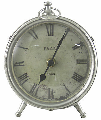 Paris French Antique Style Grey Metal Round Mantel Desk Shelf Clock
