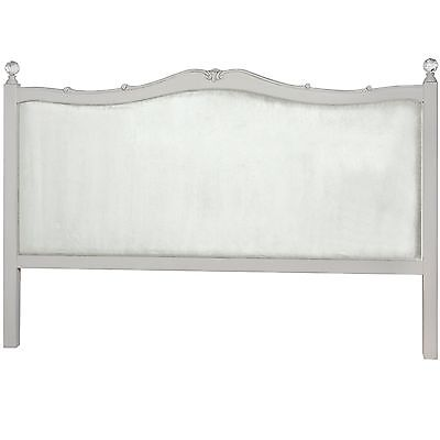 French Antique Style Upholstered Soft Grey Crystal King Size Wood Bed Head Board