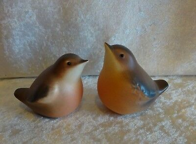Pair of Ceramic Porcelain Robins Birds Fat Round Browns Oranges Lot of 2