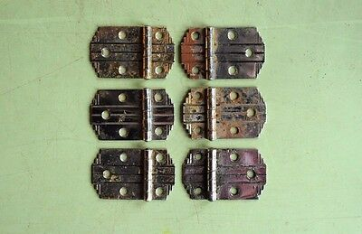 antique vintage Art Deco chrome hinges set of six