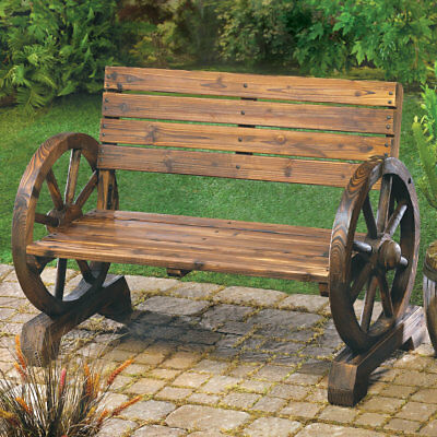 Wooden Wagon Wheel Themed Garden Love Seat Bench Country Farm Rustic Lodge Porch
