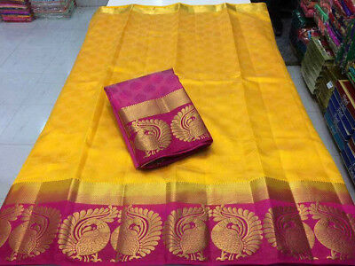 South Indian Traditional Designer Saree Tussar Silk Saree With Unstitched Blouse