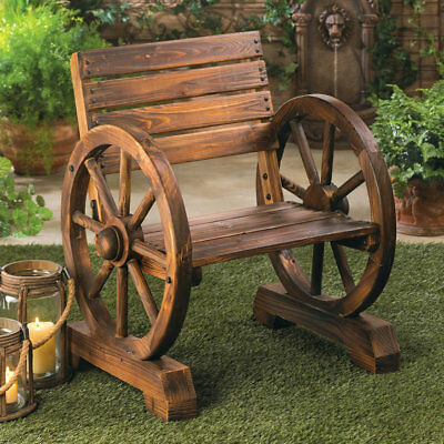 Wooden Wagon Wheel Themed Garden Seat Bench Country Farm Rustic Lodge Porch
