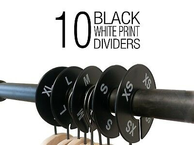10 Pieces Black Closet Size Dividers Round Clothing Rack Dividers-XS-XL