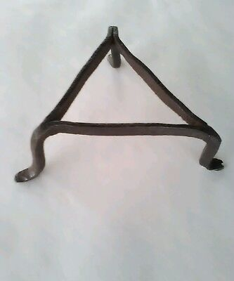 antique primitive hand wrought trivet/spider for fireplace iron three legs