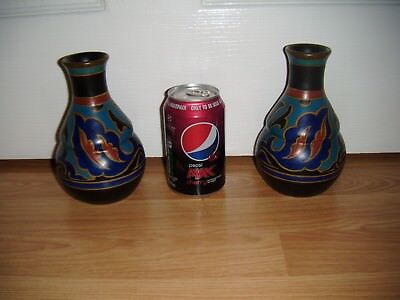 Pair Of Gouda Pottery Vases - Blue - Brown - Yellow - Red ~ Excellent Condition
