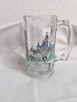 Walt Disney Disneyland Castle Clear Beveled Glass Mug Souvenir Beer