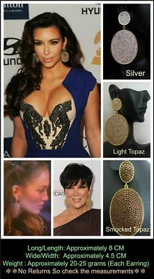 Kim Kardashian Celeb Inspired Pave Diamond Disk Disc Hoop Wedding Prom Earrings