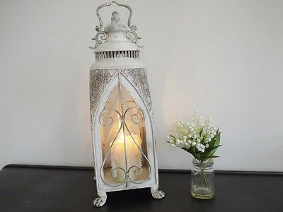 Tall Antique French Vintage Style Large Glass Lantern Candle Holder Cream Shabby