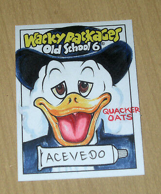 2017 Topps Wacky Packages Old School 6 OS6 sketch card David Acevedo QUACKER OAT