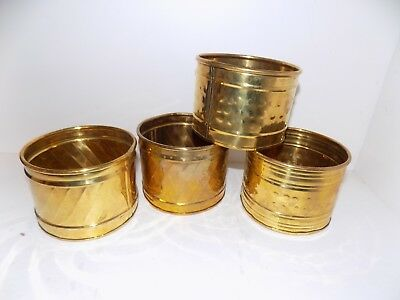 "Lot of 4 Vintage BRASS Containers, Planters, Tub, Bowl 4"" wide 3"" tall All same"