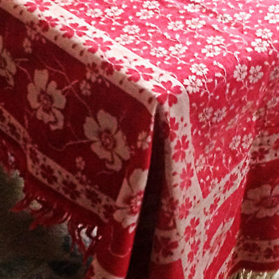 Antique ~Turkey Red Damask ~Tablecloth & 8 Napkins Overall Floral Design Fringed