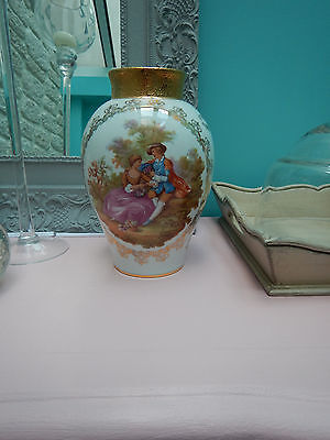grand vase porcelaine Limoges Fragonard or