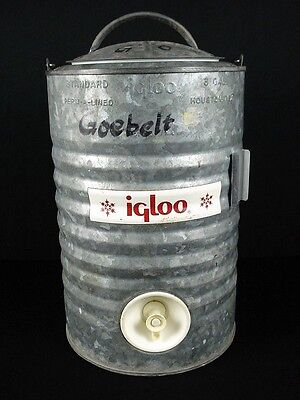 Vintage Igloo 3 Gallon Galvanized Steel Water Cooler Jug Perm-A-Lined (3)