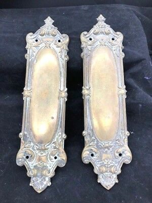 pair of victorian door backplates in brass 13 inch ornate original