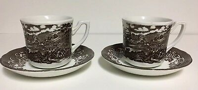 Vtg J & G Meakin Royal Staffordshire STRATFORD STAGE BROWN Coffee Cups/Saucers