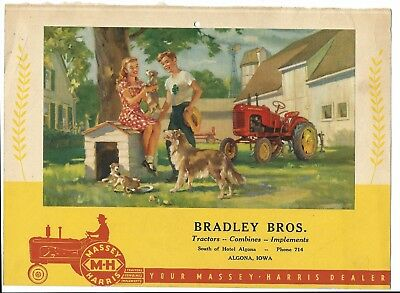 Massey Harris Tractor Advertising Calender Top Algona Iowa IA 4 Four H