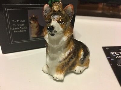 Pembroke Welsh Corgi Dog Polish Glass Christmas Ornament Tri Sitting