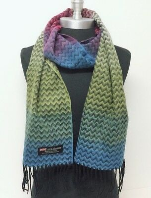 New 100% CASHMERE SCARF CHEVRON DESIGN RAINBOW MADE IN SCOTLAND SOFT #A01