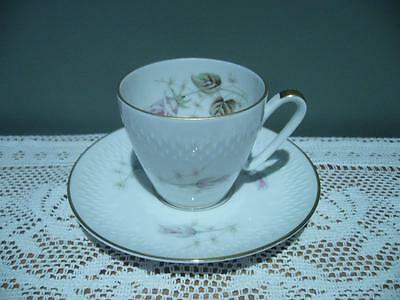 Edelstein Germany Floral Gilt Demitasse Cup & Saucer Duo - Vintage - Vgc