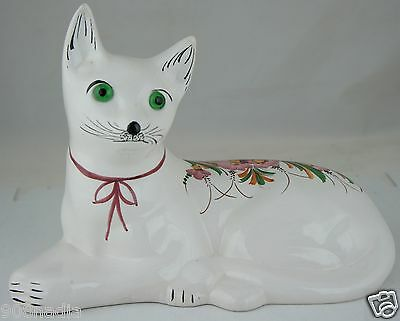 Cat Figurine 1995 Hand Painted In Portugal White,pink Flowers,green Eyes