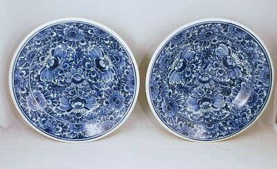 Delft Oude pair of Wallplates botanical floral deep plate dishes signed