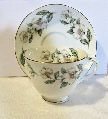 Vintage Bone China Cup & Saucer by Crown, Staffordshire, England-Pear Blossoms