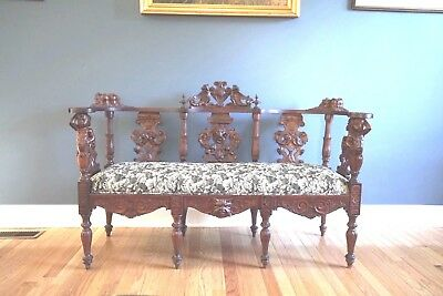 Stunning French Antique Renaissance  Carved Oak Sofa Bench
