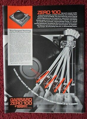 1971 Print Ad Garrard Zero 100 Record Player Turntable ~ True Tangent Tracking